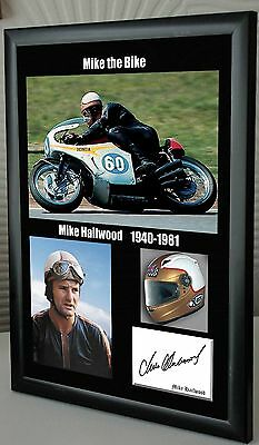 """Mike Hailwood Isle of Man TT Motor Cycle Framed Canvas Signed """"Great Gift"""""""