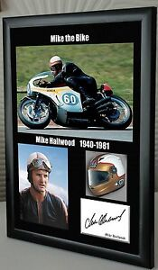 Mike Hailwood Isle of Man TT Motor Cycle Framed Canvas Signed