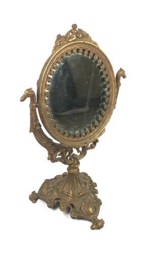 Antique Figural Victorian Cast Iron Tilt Vanity Mirror Cherub and Dragons