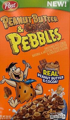 NEW POST FAMILY SIZE PEANUT BUTTER & COCOA PEBBLES CEREAL 20 OZ BOX CHOCOLATE 20 Oz Pebble