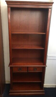 Tall Vintage Solid Heavy Mahogany Dresser Bookcase Display Wall Unit Cupboard