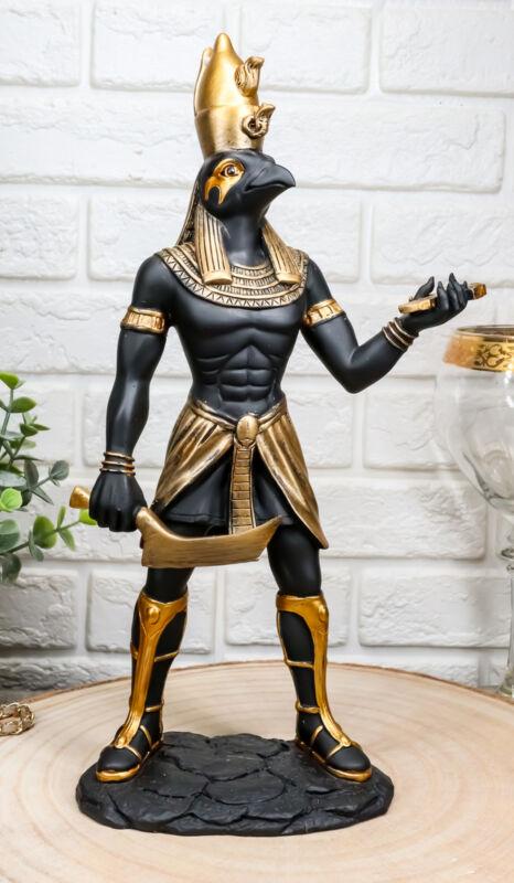 "Ebros Ancient Egyptian Theme Falcon Horus Ra Holding Ankh Statue 12"" Tall"