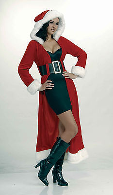 Adult Enchanting Miss Christmas Costume Sexy Long Santa Coat Standard Size