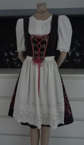 German Vintage Dirndl Dress + Blouse + Apron 6-8