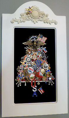 VTG JEWELRY MILITARY PATRIOTIC USA FRAMED ART TREE RHINESTONE EAGLE ANGEL FLAG