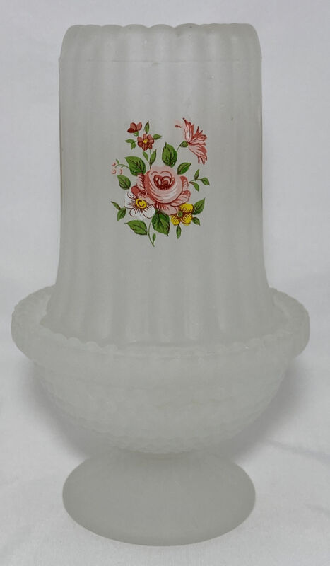 White Frosted Satin Glass Fairy Lamp Candle Holder w/ Transfer Flowers Vintage