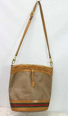 Vintage Gucci Ophidia Bucket Monogram Web Brown Gg Supreme Canvas Shoulder Bag