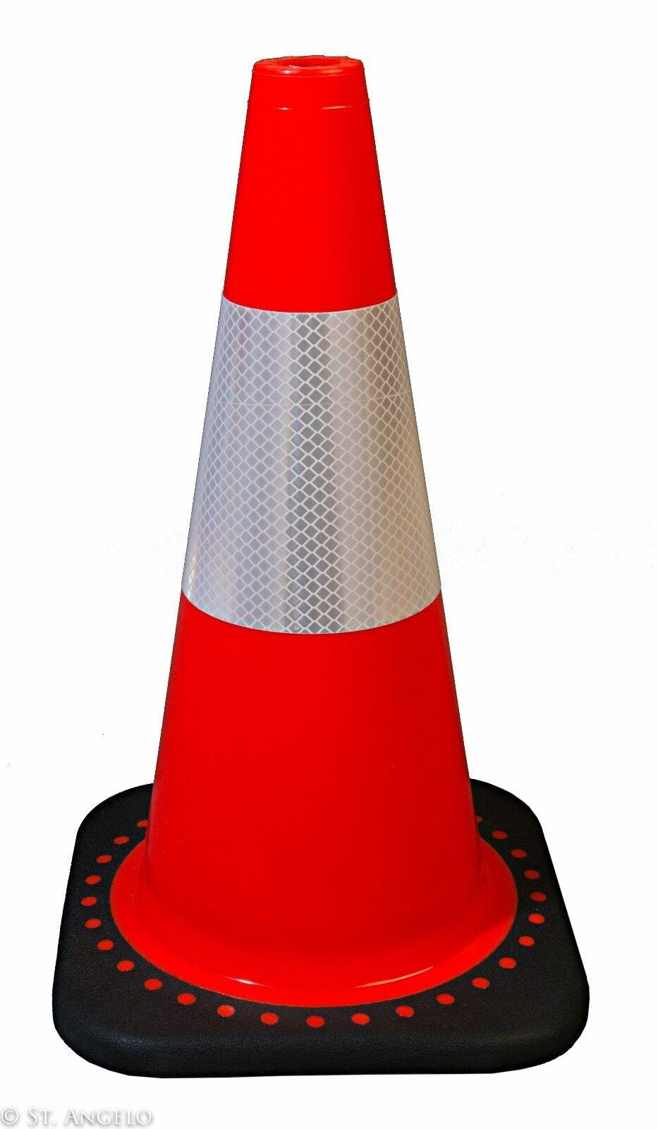 1850-6 18″ W/ 3M Reflective Stripe Orange Safety Traffic Cones 6/Pkg, Wide Body Business & Industrial