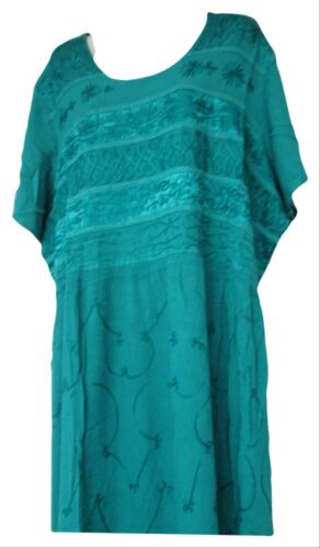 Vermont Country Store  Womens Green Embroidered Short Sleeve Dress