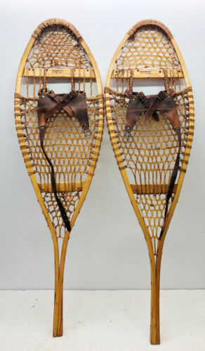 """Antique Vintage 12"""" X 43"""" BROWNING Snowshoes Usable or Decor - Free Shipping"""