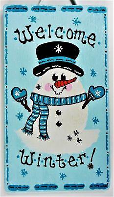 - SNOWMAN WELCOME WINTER SIGN Wall Art Door Hanging Hanger Plaque Seasonal Decor