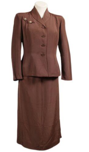 1940s Vintage Ladies Suit Army Dress Brown Rhinestone Forman & Gunner Boston