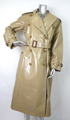 $2395 Burberry Women's Honey Beige Patent Canvas Trench Rain Coat 4066289 Canvas Trench Coat