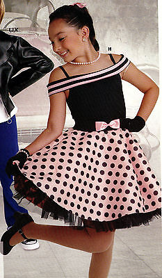 50's Day Outfits (NWT 50's Dance Costume Sock hop skirt & Leotard happy days ch/Ladies)