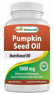 Best Naturals Pumpkin Seed Oil Capsules, 1000 mg, 180 Count Single