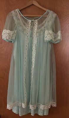 Vintage Nylon Nightgown Gown & Peignoir Chiffon Robe Set Negligee Lingerie