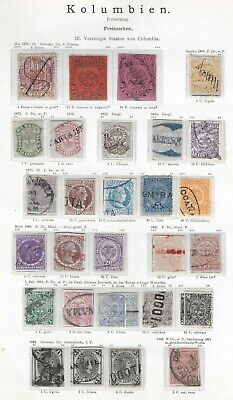 COLOMBIA 1870-1883 Used/Unused Classis Lot on Old Album Page Unchecked Cancels!