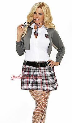PLUS SIZE Sexy SCHOOL GIRL COSTUME Mini Tartain Plaid Sweater QUEEN OF DETENTION ()