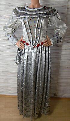 Kleid Brokat silber glänzend M Dekokragen Schnürung Kostüm Theater Karneval Larp