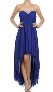 Strapless High Low  Royal Blue Cocktail Dress