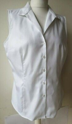JONES New York BLOUSE L UK14 ivory sleeveless buttons collar 100% cotton
