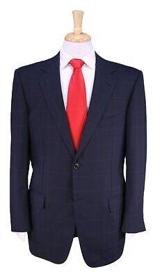 Ermenegildo Zegna Navy Blue Windowpane 2-Btn Luxry Wool Suit 42R