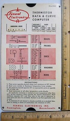 Fenwal Electronics Engineer Slide Chart Rule Framingham MA thermistor RT curve Fenwal Electronics
