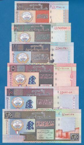 KUWAIT 6 Notes set UNC 1/4 + 1/2 + 1+ 5 + 10 + 20 Dinars P 23 24 25 26 27 28 Lot