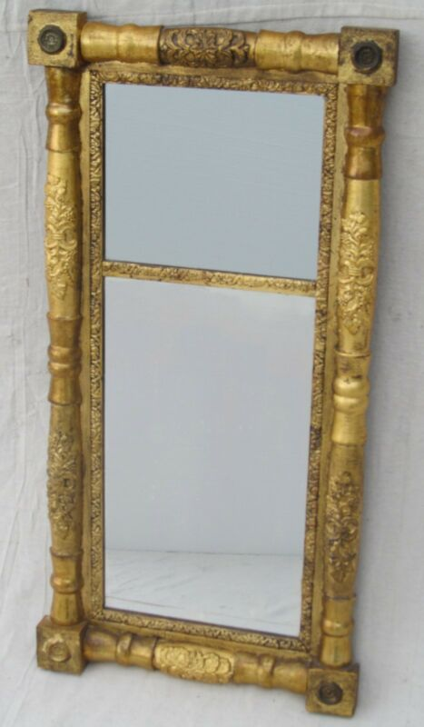 EARLY 19TH CENTURY FINE GOLD GILT SHERATON ANTIQUE MIRROR WITH BRASS ROSETTES