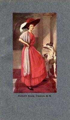 Fräulein M.M. & Deutsche Dogge Kunstdruck 1913 von Adam Luitpold † Fraunau -