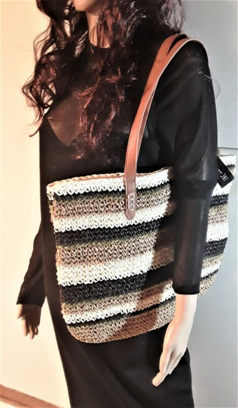 Bettsi Stripe Straw Tote Details about  /INC International Concepts I.N.C