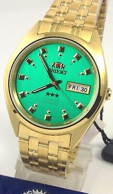 NEW Orient  Men's 3 Star Standard Gold Tone Green Dial Automatic Watch  W Box