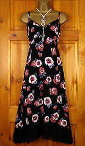M-S-SUN-DRESS-LADIES-BLACK-RED-WHITE-FLORAL-STRAPPY-SUMMER-VINTAGE-STYLE