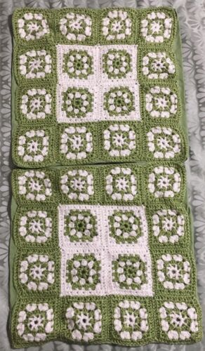 "Wool Crocheted Granny Square Pillow Case Cover Square 15"" X 15"" Green White"