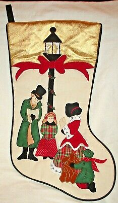 """CHRISTMAS STOCKING IVORY APPLIQUED CAROLER FAMILY LAMPPOST GOLD TOP BAND 17"""""""