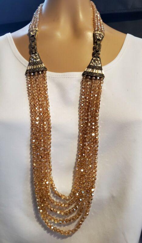 Heidi Daus Deco Master Clasp Necklace / Bracelet Set Champagne  Ret: $289.95