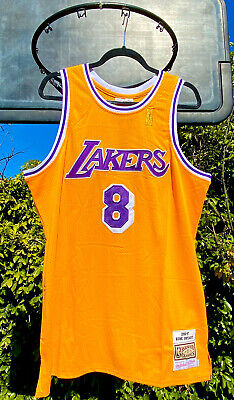 Kobe Bryant #8 Throwback NBA ROOKIE Jersey Los Angeles Lakers Gold