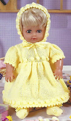 DOLLS DRESS BONNET & BOOTEES  KNITTING PATTERN FOR DOLLS 12 TO 22 INCH  (839)