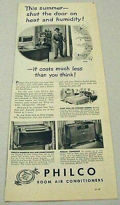 1950 Print Ad Philco Room Air Conditioners Shut the Door on Heat & Humidity
