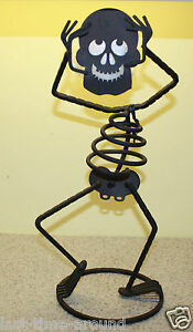 Party-Lite-Bones-Candle-Holder-Metal-Skelton-Tea-Light-Statue-Unused