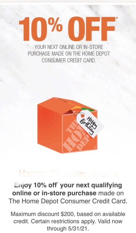 Home Depot 10% Coupon Online Expires 5/31/2021