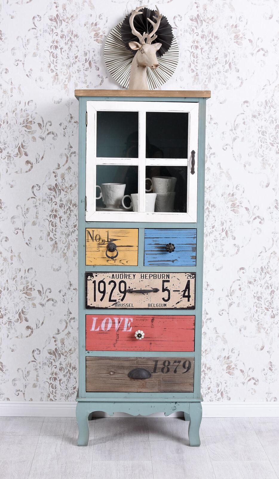 Hochkommode Vitrinenschrank Loft Schrank Industrie Design Kommode Vintage Holz