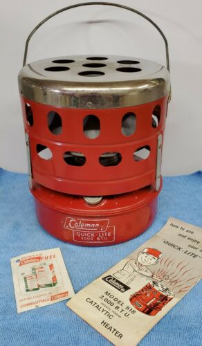 Vintage Coleman Catalytic Heater No. 518 Canada Red Camping With Box