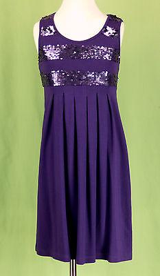 209 Flowers by Zoe girl dress purple SEQUIN decoration pleated EUC M (10-12)