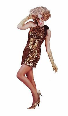 Kleid Disco Queen 1tlg. Kostüm Diva gold Gr 36 38 44 Glamour Hollywood