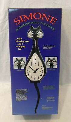 Black Simone Animated WALL CAT CLOCK w/ Blinking Eyes & Swinging Tail RARE Retro