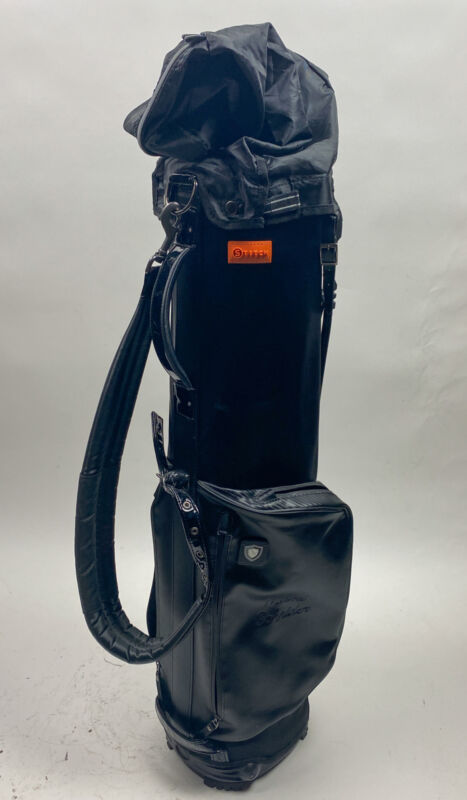Used Stitch Golf Black Stand Bag w/ Raincover Embroidered withMami Schnider