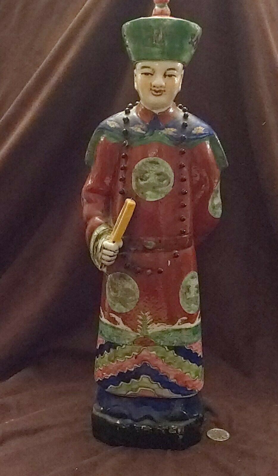 LARGE VTG CHINESE HAND PAINTED PORCELAIN LU GOD OF PROSPERITY FIGURINE STATUE