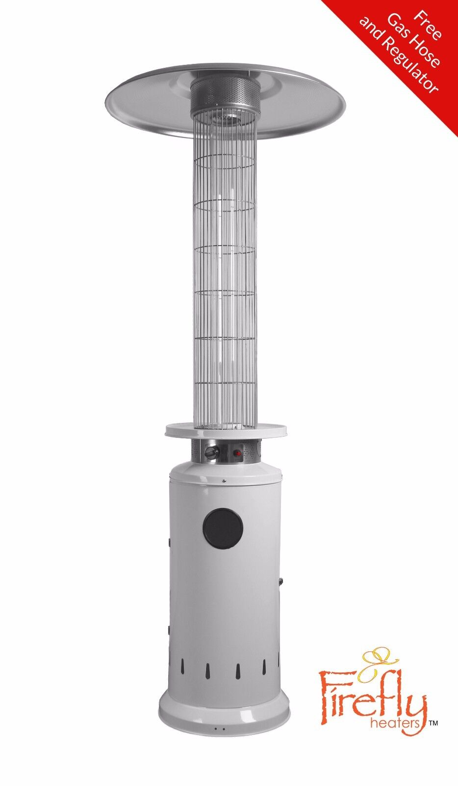 Outdoor Gas Patio Heater Samos White 12kW Wheeled 30m² Garden Heating