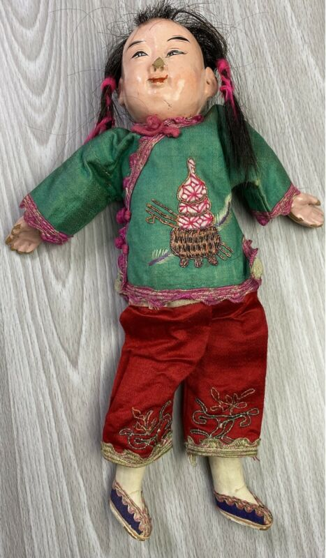Antique Vtg Composite Chinese Hand Painted Girl Doll Silk Clothing 10""